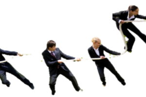 achieving teamwork, 4 people in business suits pull the same rope