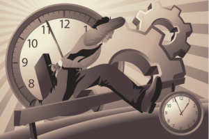 businessman hopping over clocks and gears, caption is sense of urgency
