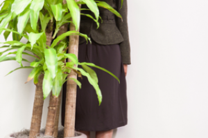 lady hiding behind an office plant